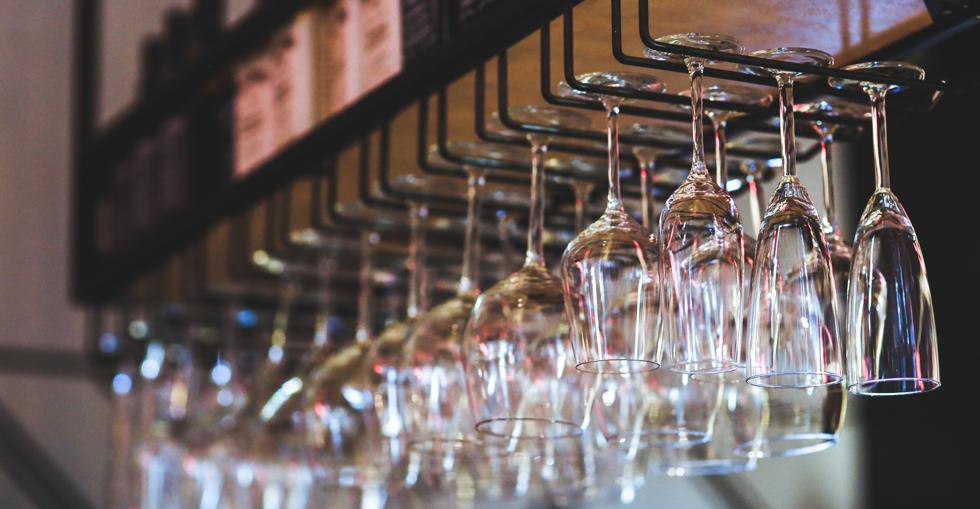 Glasses in a bar