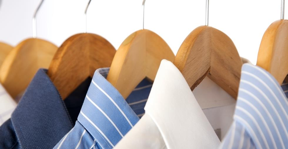Dry cleaning shirts hanging